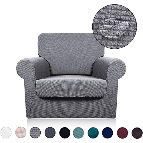 Chair Cover with Separate Seat Cushion Cover(2 Pieces Set) - Water Repellent,Knitted Jacquard,High Stretch - Living Room Couch Slipcover/Protector/Shield for Dog Cat Pets(1 Seater Sofa,Light Grey) (Room Chairs Living For Cushion)