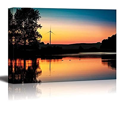 Wind Turbine and Sunset at Lake in Summer Wall Decor, Created By a Professional Artist, Marvelous Expertise