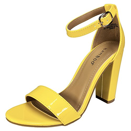 BAMBOO Women's Single Band Chunky Heel Sandal with Ankle Strap, Yellow Patent Vegan Leather, 5.5 B ()