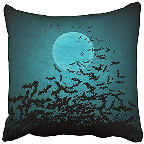 Starowas Throw Pillow Covers Cases Decorative 18x18 Inch Black Horror Halloween with Moon and Bats Blue Border Gothic Dark Night October Two Sides Print Pillowcase Case Cushion -