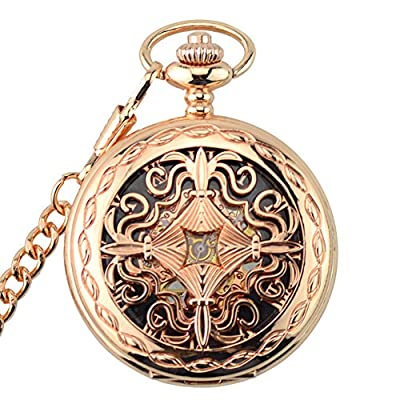 Pokect Watch with Chain for Women,Hand Wind Rose Gold Tone Roman Numberal,Half Hunter from Jelercy