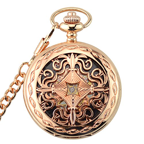 Pokect Watch with Chain for Women,Hand Wind Rose Gold Tone Roman Numberal,Half Hunter
