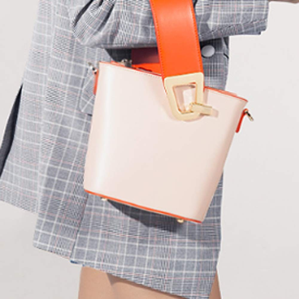 Color : Beige, Size : A QUAN YOU Leather Bag-Fashion Simple Personality Ladies Bucket Bag Baggage//Handbag//Messenger Bag//Handbag