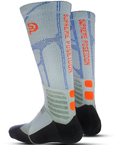 SUPREME POSEIDON Mens Trailblazer Snowboard & Ski Socks | Ergonomic Left and Right Foot | Thermal Compression Moisture Control | High Performance Comfort | Winter Warmth (Ski Heavyweight Sock)