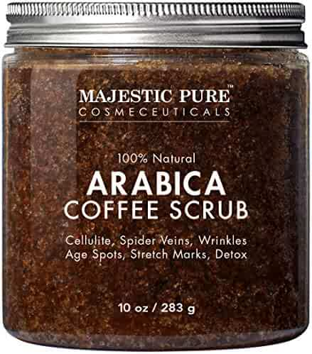 Majestic Pure Arabica Coffee Scrub - All Natural Body Scrub for Skin Care, Stretch Marks, Acne & Cellulite, Reduce the Look of Spider Veins, Eczema, Age Spots & Varicose Veins - 10 Oz