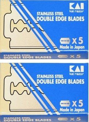 (KAI Stainless Steel Double Edge Safety Razor Blades, 10 blades (5x2))