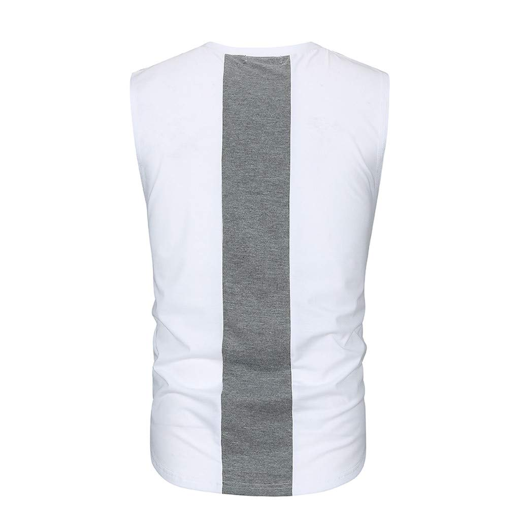 Pervobs Men Solid Slim Fit Active Sports Tops Vest Summer Short Sleeve Crew Neck T-Shirt Tee Top Blouse Vest Tank(2XL, White) by Pervobs Mens T-Shirts (Image #5)