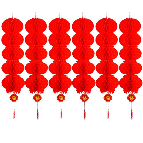 Resinta 6 Pack Red Paper Lanterns Chinese New Year Hanging Lanterns for Chinese Festival Celebration Decoration or Party Supplies (5 Vertical Linear Array Lanterns)
