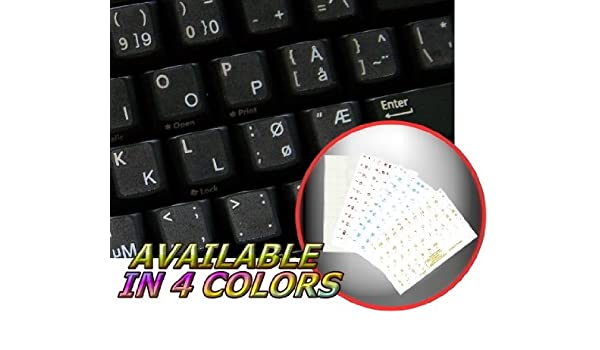 NORWEGIAN STICKER FOR KEYBOARD TRANSPARENT BACKGROUND WITH WHITE LETTERING