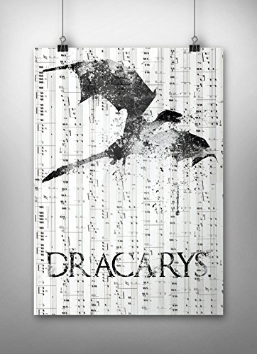 Dracarys, GoT Wall Decor, Game of thrones Print, Asoiaf, Music sheet print,Game of thrones Quote, House Targaryen, dragon, A3 size (297mm x 420mm / 11.69 x 16.53 inches) (Music Posters Games)