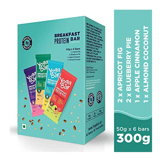 Yogabar Breakfast Protein Variety (Almond Coconut, Apricot & Fig, Blueberry, Apple Cinnamon Bars - 300gm, 6 x 50 g (Box of 6 Bars)
