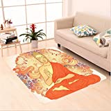 Nalahome Custom carpet r Meditation Aura Thai Temple Ornamental Motive Spiritual Design Print Accessories Orange Purple area rugs for Living Dining Room Bedroom Hallway Office Carpet (6' X 9')