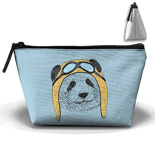 Unisex Stylish And Practical Cute Panda Pilot Cartoon Concise Art Trapezoidal Storage Bags Handbags by XIANGKESI (Image #1)