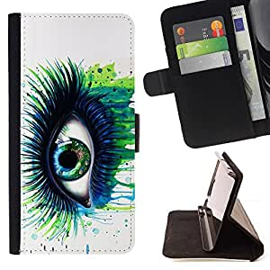 For Sony Xperia Z2 D6502 Green Blue Eye Lashes Painting Watercolor Art Style PU Leather Case Wallet Flip Stand Flap Closure Cover