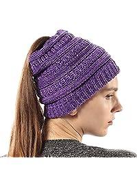 Girls Knit Beanie Hat Soft Stretch Messy High Ponytail Winter Skull Cap, Mix Purple