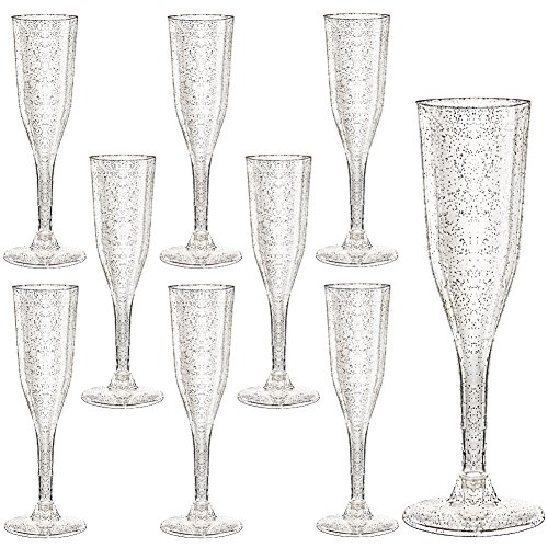 (Plastic Champagne Flutes 105 Piece, 5 Oz Plastic Champagne Glasses Silver Glitter, Premium Disposable Clear Cups Prefect for Wedding and Party)