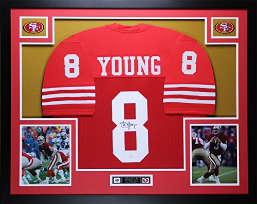 (Steve Young Autographed Red 49ers Jersey - Beautifully Matted and Framed - Hand Signed By Steve Young and Certified Authentic by Auto JSA COA - Includes Certificate of Authenticity)