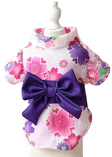 MaruPet Brocade Japanese Kimono for Girl Floral Pet Halloween Costume Bowknot Dog Dress for Small, Extra Small Dog Wiener Dog Teddy, Pug, Chihuahua, Shih Tzu, Yorkshire Terriers, Papillon White S