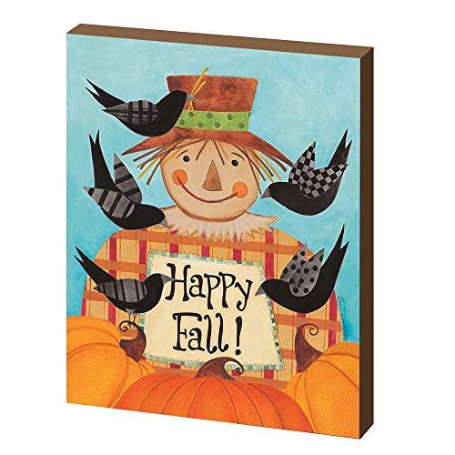 Scarecrow Happy Fall Pumpkin Orange 10 x 8 MDF Wood Harvest Decorative Plaque -