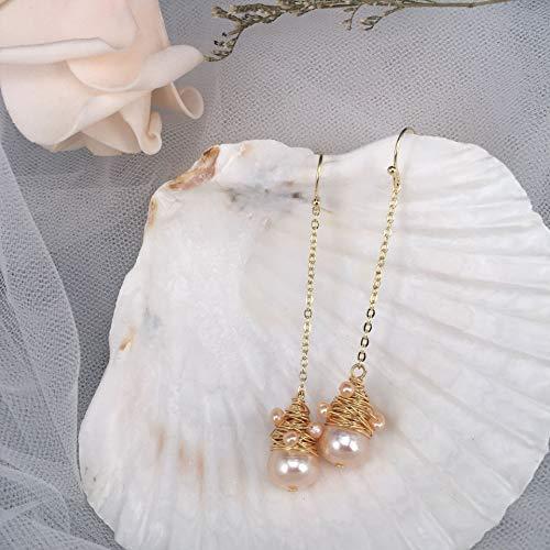 (DIY Handmade Hook Pendant Drop Earrings Baroque Pearl For Women Bohemian Tasse Dangle Earrings Jewelry)