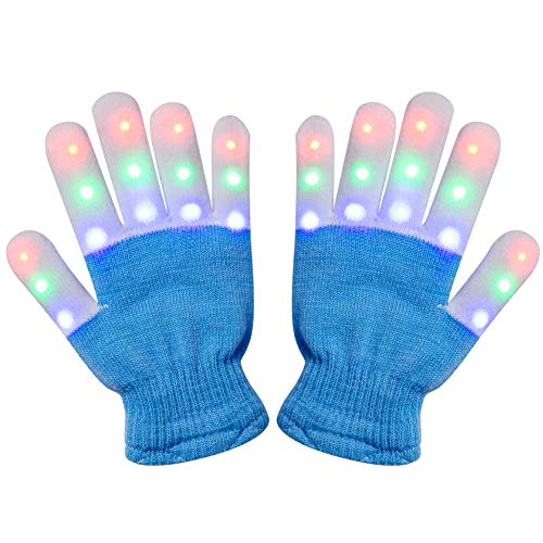 Amazer Kids Light Gloves Children Finger Light Flashing LED Warm Gloves with Lights for Birthday Light Party Christmas Xmas Dance Thanksgiving Day Gifts for More Fun- Blue