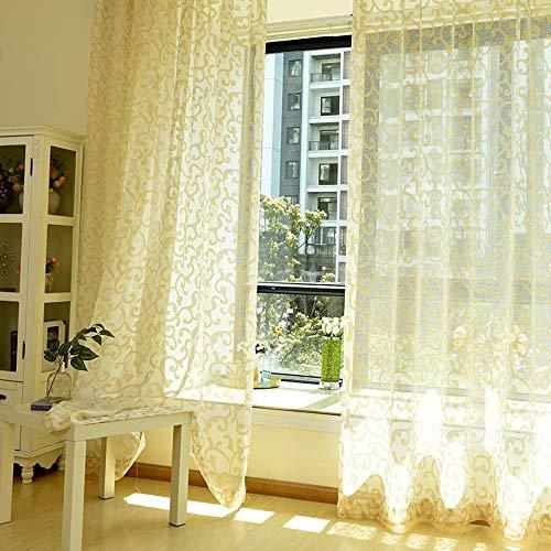pureaqu Rod Pocket Semi Sheer Extra Wide Patio Curtain Panel for Living Room Gold Silk Jacquard Window Treatment Drapery for Sliding Glass Door Window Tulle Single Panel W114xH84