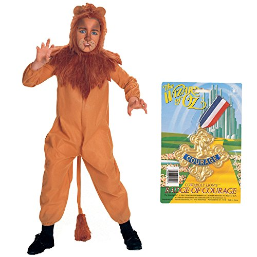 BirthdayExpress Wizard of Oz Cowardly Lion Costume and Badge of Courage Bundle - Child Large