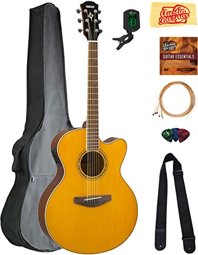 (Yamaha CPX600 Acoustic-Electric Guitar - Vintage Tint Bundle with Gig Bag, Tuner, Strings, Strap, Picks, Austin Bazaar Instructional DVD, and Polishing Cloth )