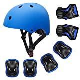 YUFU Kids Helmet Sports Protective Gear Set for 3-8 Years Toddler Boys Girls Bike Skateboard Adjustable Helmet Knee Elbow Wrist Pads for Cycling Skating Roller Scooter Bicycle, Pack of 7 Blue S
