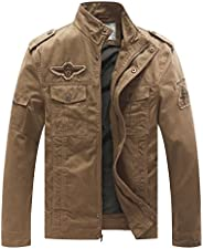 WenVen Men's Spring Washed Cotton Military Jackets Outer