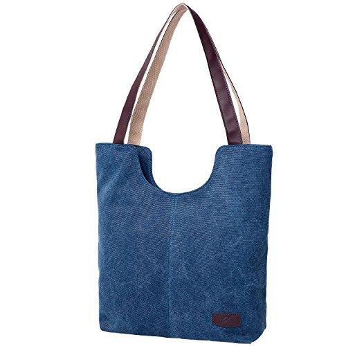 à à pour Cabas en pour Toile Femme Sacs Femme Bandoulière Main Plage Bleu Sacs l'épaule Voyage vCqXxw1d