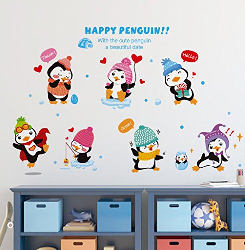 - BIBITIME Kindergarten Classroom Nursery Cartoon Saying Quotes Happy Penguin Wall Decals Stickers Bedroom Kids Room Decor,DIY 38.18