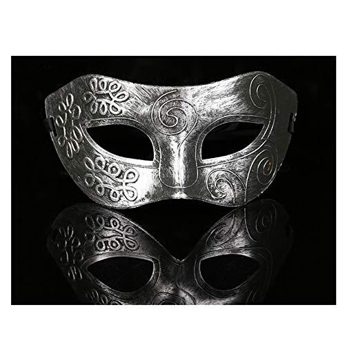 Halloween Lady Men Greek Vintage Carved Roman Fighter Masquerade Half Face Mask Silver ()