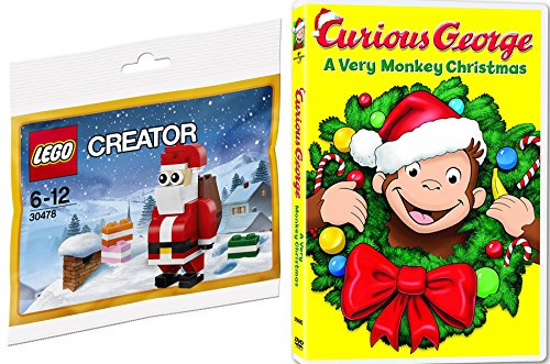 Lego Creator Santa Claus Toy Builder + Curious George: A Very Monkey Christmas Cartoon DVD Holiday - Express Burro