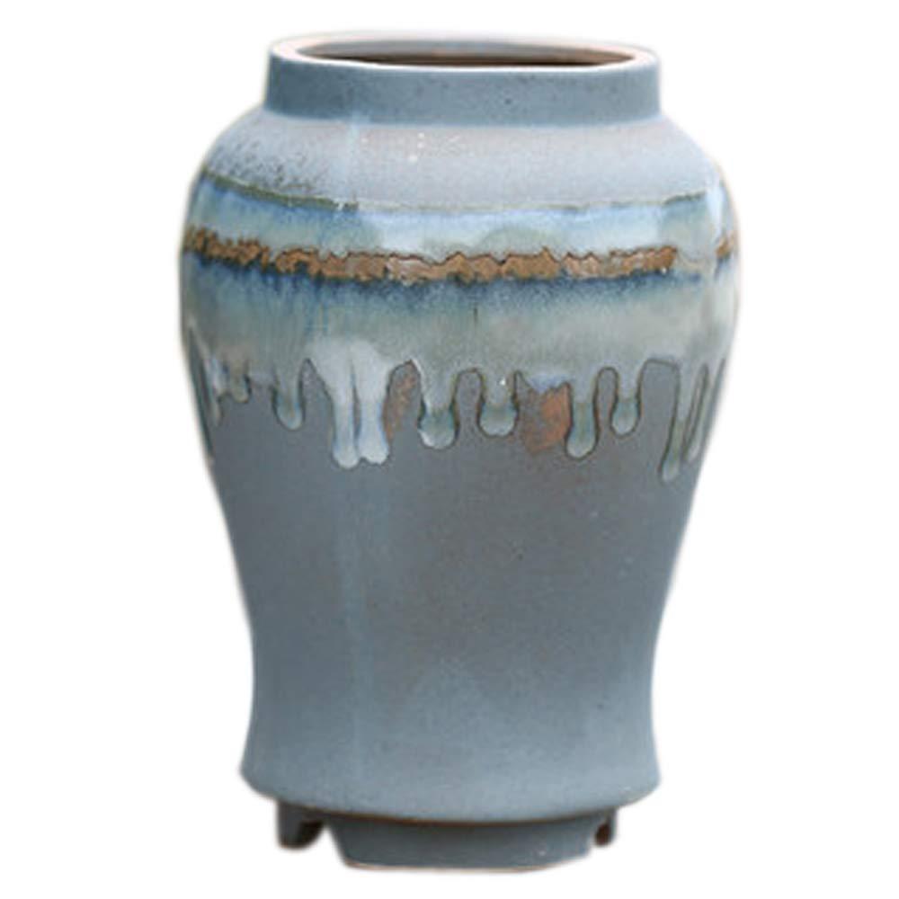 Better-way Ceramic Vase Planter Art Pottery Drip Glaze Vase Orchid Flower Pot Kitchen Table Centerpieces Decor (Height 7.5 Inch)