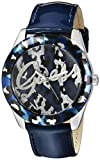 GUESS Women's Quartz Stainless Steel and Leather Casual Watch, Color:Blue (Model: U0455L1)
