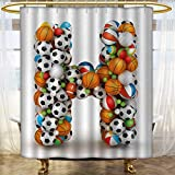 Anhounine Letter H Shower curtains sets bathroom Letter H Stacked from Gaming Balls Alphabet of Sports Theme Competition Activity Bathroom Decor Sets with Hooks 54''x72'' Multicolor