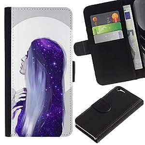 Billetera de Cuero Caso del tirón Titular de la tarjeta Carcasa Funda del zurriago para Apple Iphone 6 4.7 / Business Style Moon Woman Blue Hair Stars