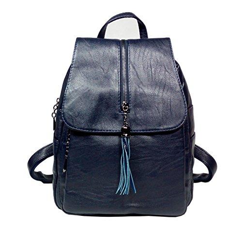 Dark Purse BINCCI Handbag Leather travel Backpack for Shoulder Blue School Bag Women qvfpvg