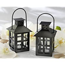 Luminous Black Mini-Lantern Tea Light Holder [SET OF 12]