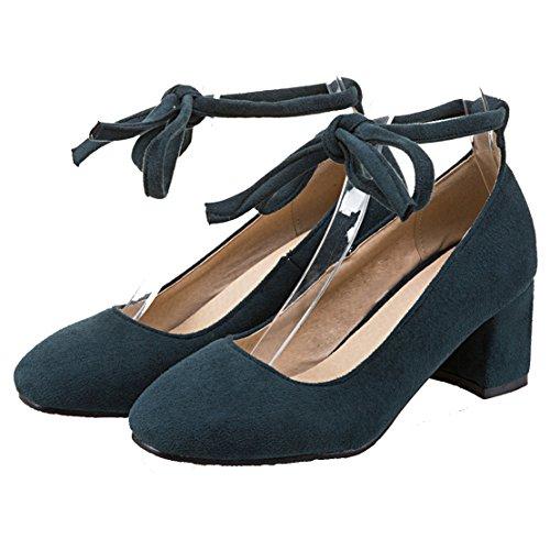 AIYOUMEI Damen Wildleder Chunky Heel Pumps mit Schnürung und 6cm Absatz Blockabsatz Bequem Schuhe Grün