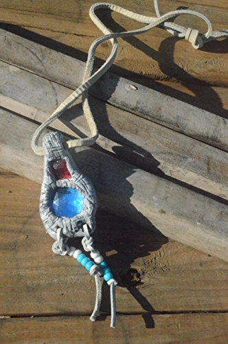 Fairy Music Festival Pendant Red Blue Pixie Leather Necklace Fantasy Silver Magical,Burning...