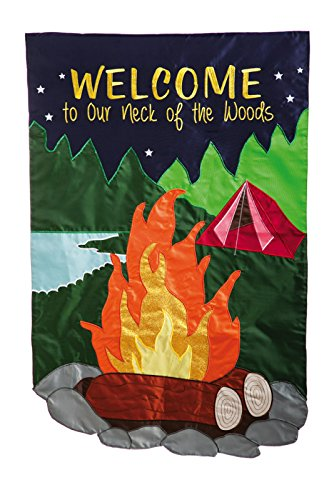 Welcome To Our Neck Of The Woods Garden Flag made our camp flag list of the most awesome camping flag and cool rv flags and camping flags spinners