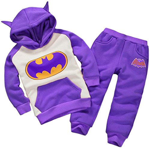 Batman Outfit For Kids (Bettyhome Unisex Kids Baby Warm Batman Sport Outfits Tracksuit Clothing Plush Hoodies Pants 2pcs Set (140#(height:43.31~47.24 in), purple))