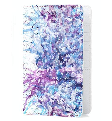 Gift Box Passport Holder for Women and Girls Travel Wallet Purple Abstract Art Pen