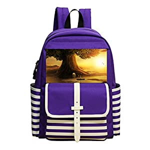 Fashion Printed Backpack The big tree and the little girl in the boat School Bag