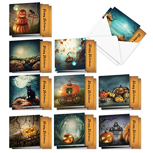 Halloween Greeting Cards (Spooky Pumpkins - 20 Boxed Happy Halloween Note Cards with Envelopes (4 x 5.12 Inch) - Assorted Painted Notecard Set - Pumpkins, Haunted House, Black Cat (10 Designs, 2 Each))