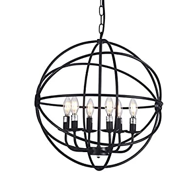 "Raekor 20"" Modern Round Sphere Black Iron Wire Frame Hanging Chandelier Ceiling Light 6-Bulbs Lighting Fixture, UL Certificated"