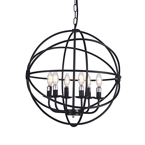 Wideskall 6-Bulbs Industrial Globe Chandelier Lighting Fixture, 20-inch Metal Shade, Matte Black Finish, UL Certificated