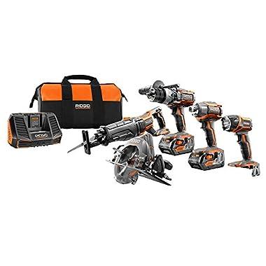 RIDGID TOOL COMPANY R9652 18V Tool Combo Kit (5 Piece)
